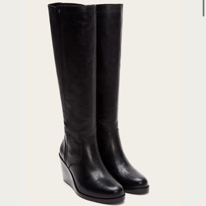 RARE Frye Missy Tall Wedge Leather Knee High Boots